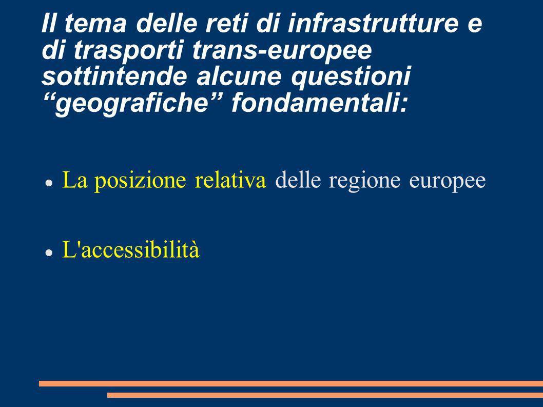 Il tema delle reti di infrastrutture e di trasporti trans-europee sottintende alcune questioni geografiche fondamentali: