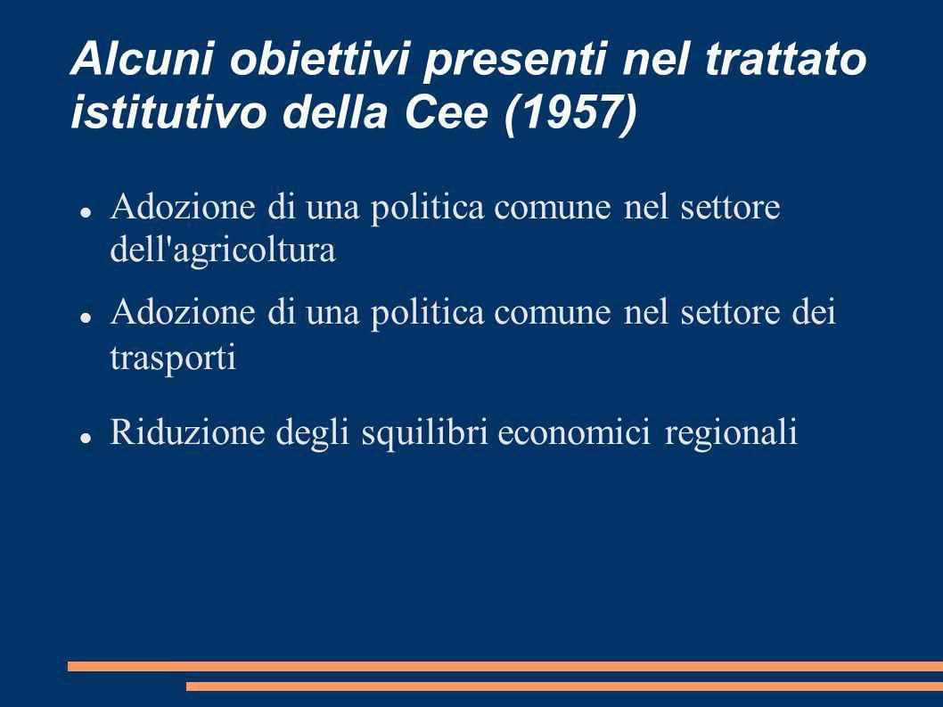 Alcuni obiettivi presenti nel trattato istitutivo della Cee (1957)