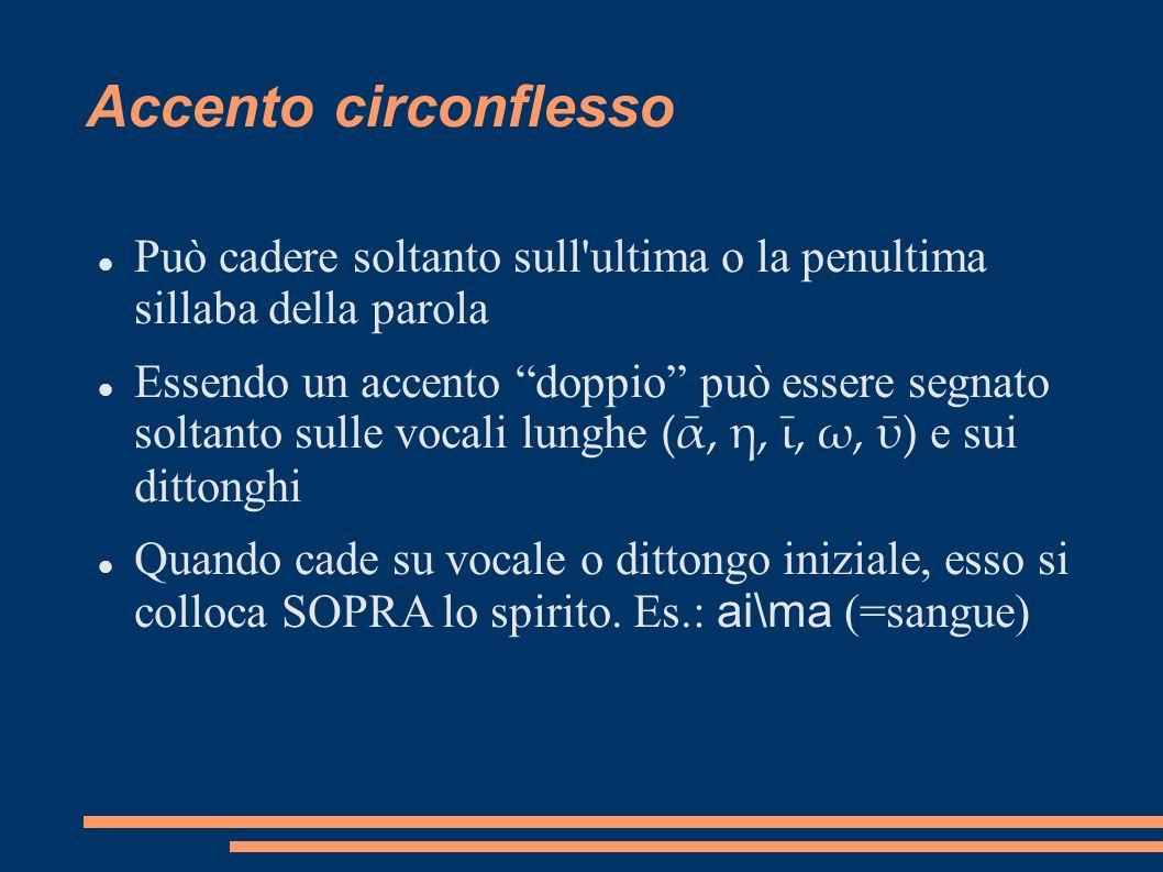 Accento circonflesso Può cadere soltanto sull ultima o la penultima sillaba della parola.