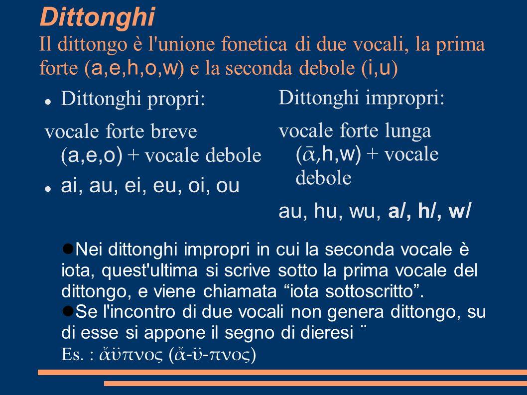 Dittonghi Il dittongo è l unione fonetica di due vocali, la prima forte (a,e,h,o,w) e la seconda debole (i,u)