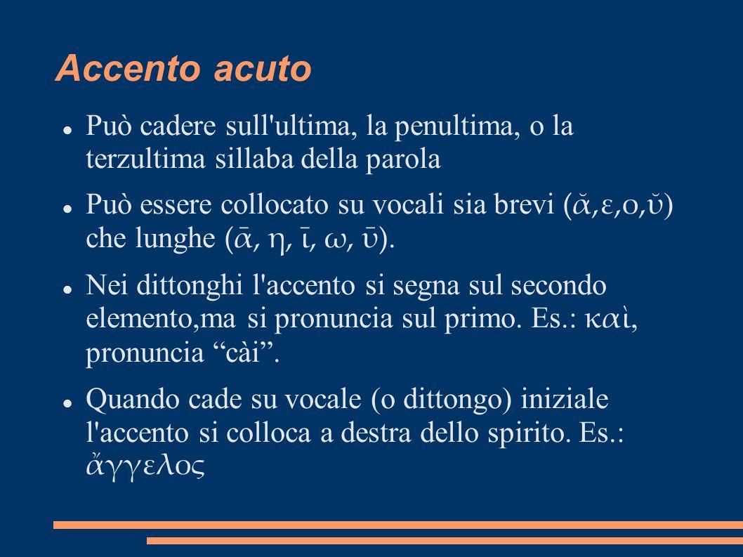 Accento acutoPuò cadere sull ultima, la penultima, o la terzultima sillaba della parola.