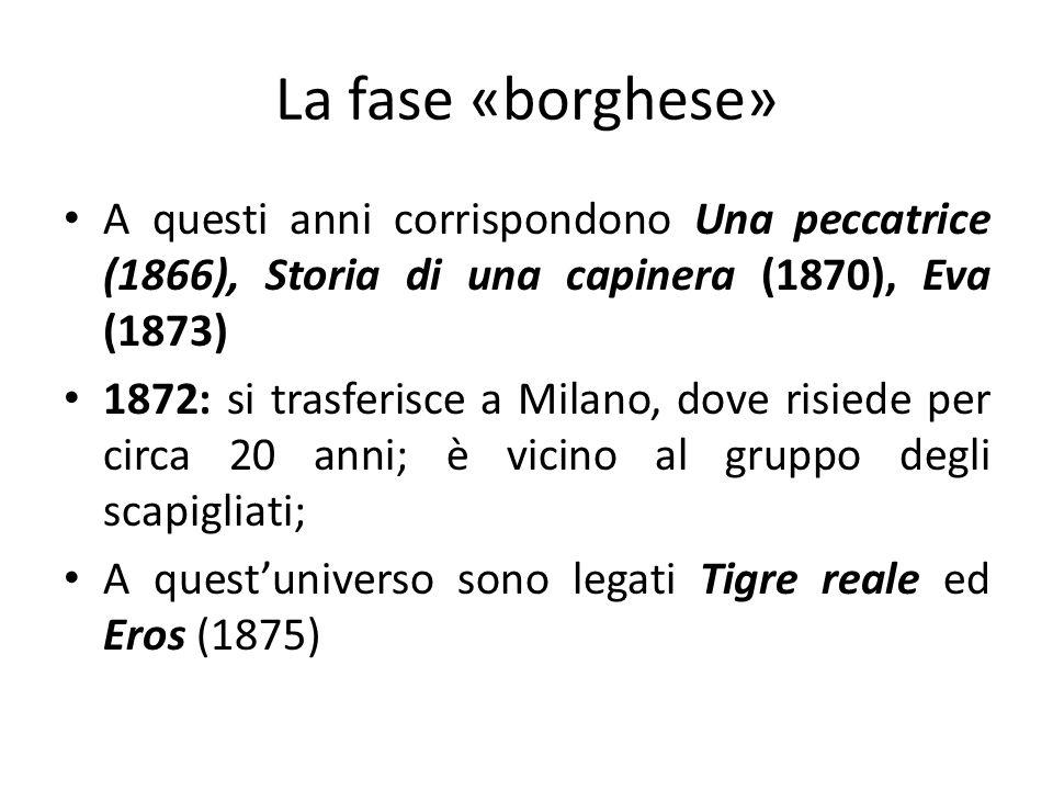 La fase «borghese» A questi anni corrispondono Una peccatrice (1866), Storia di una capinera (1870), Eva (1873)