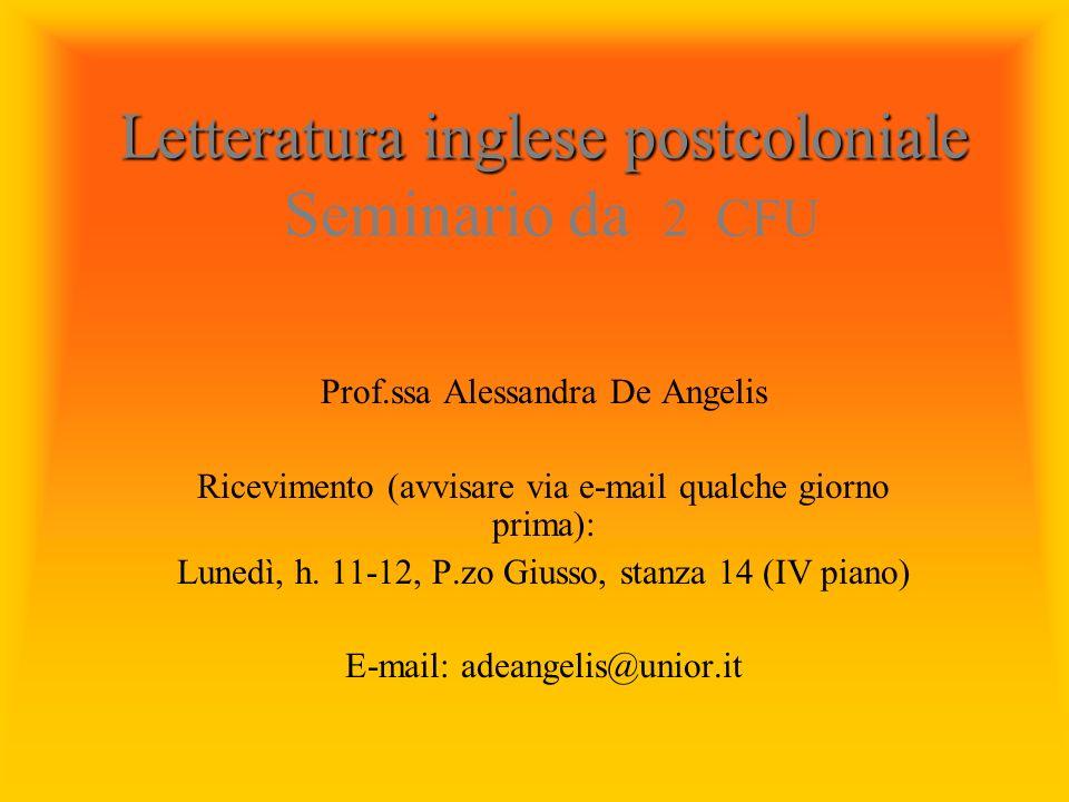 Letteratura inglese postcoloniale Seminario da 2 CFU