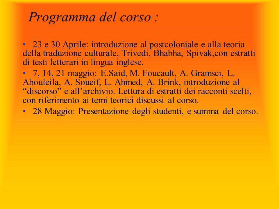 Programma del corso :