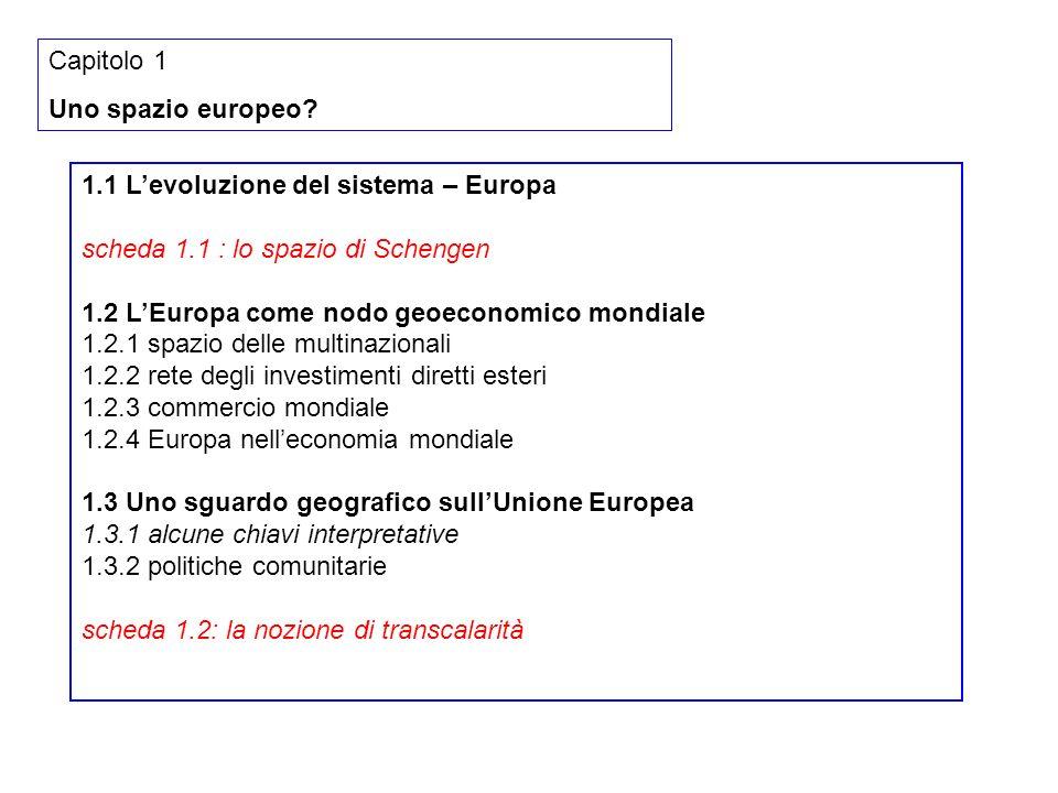 Capitolo 1 Uno spazio europeo 1.1 L'evoluzione del sistema – Europa. scheda 1.1 : lo spazio di Schengen.