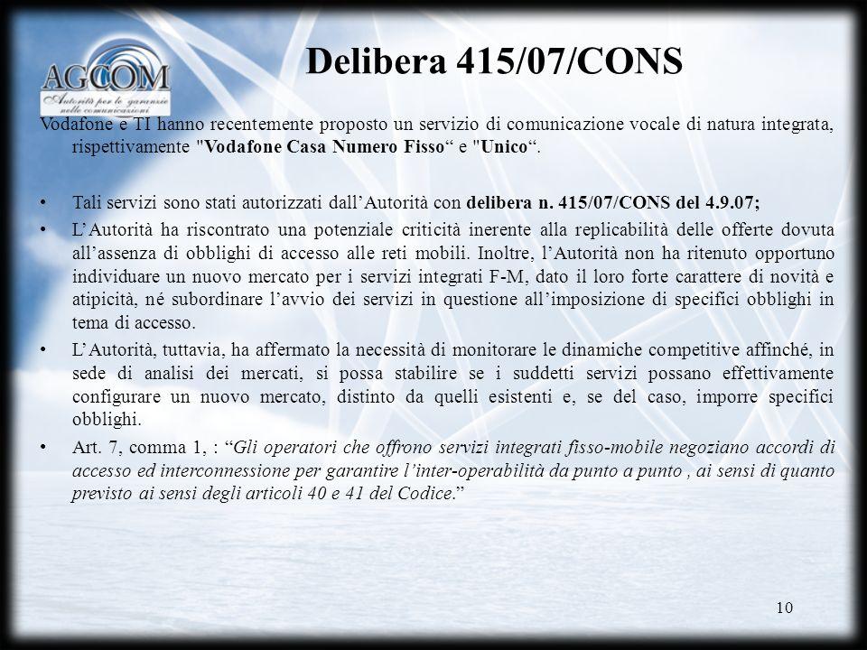 Delibera 415/07/CONS