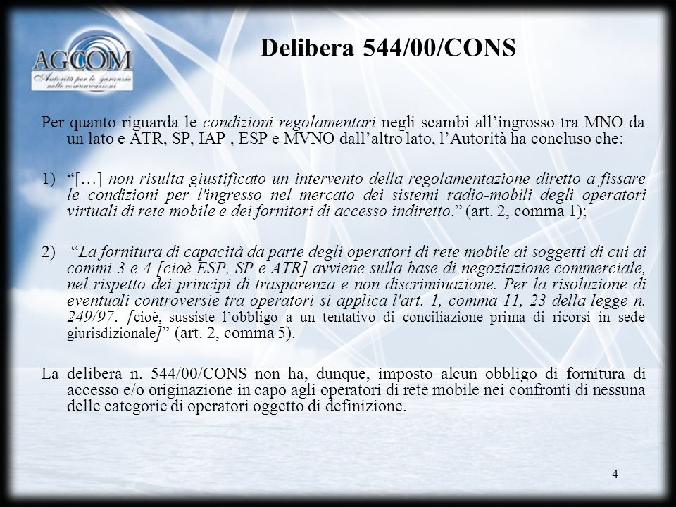 Delibera 544/00/CONS