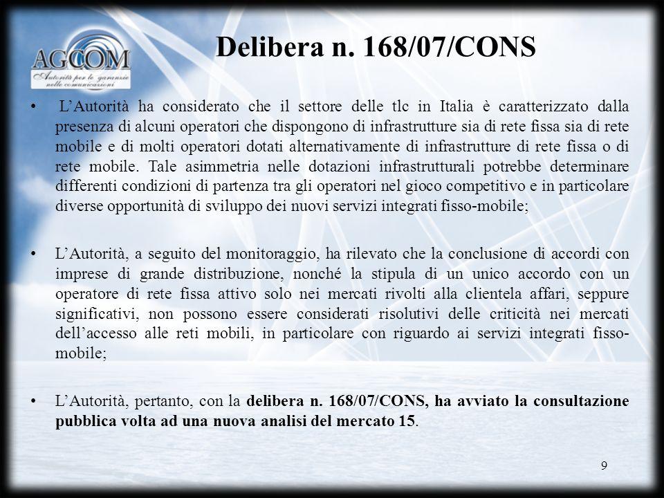 Delibera n. 168/07/CONS