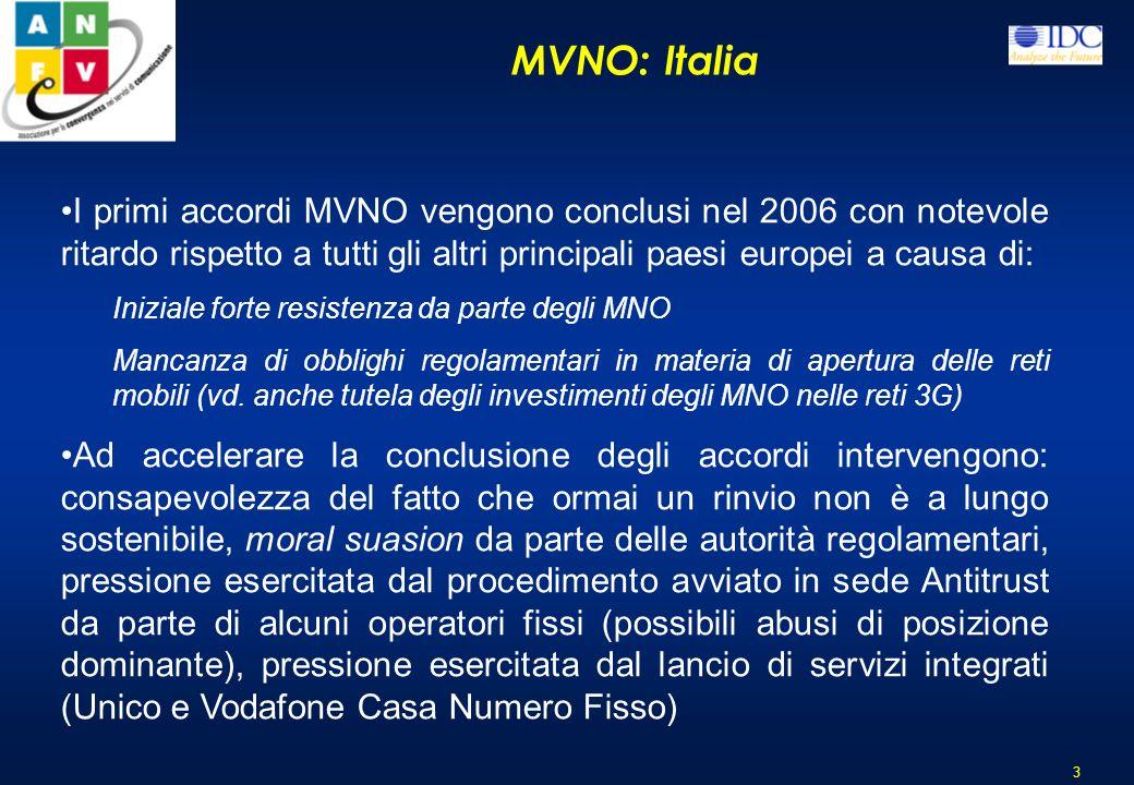 MVNO: Italia I primi accordi MVNO vengono conclusi nel 2006 con notevole ritardo rispetto a tutti gli altri principali paesi europei a causa di: