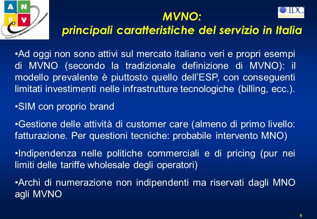 principali caratteristiche del servizio in Italia