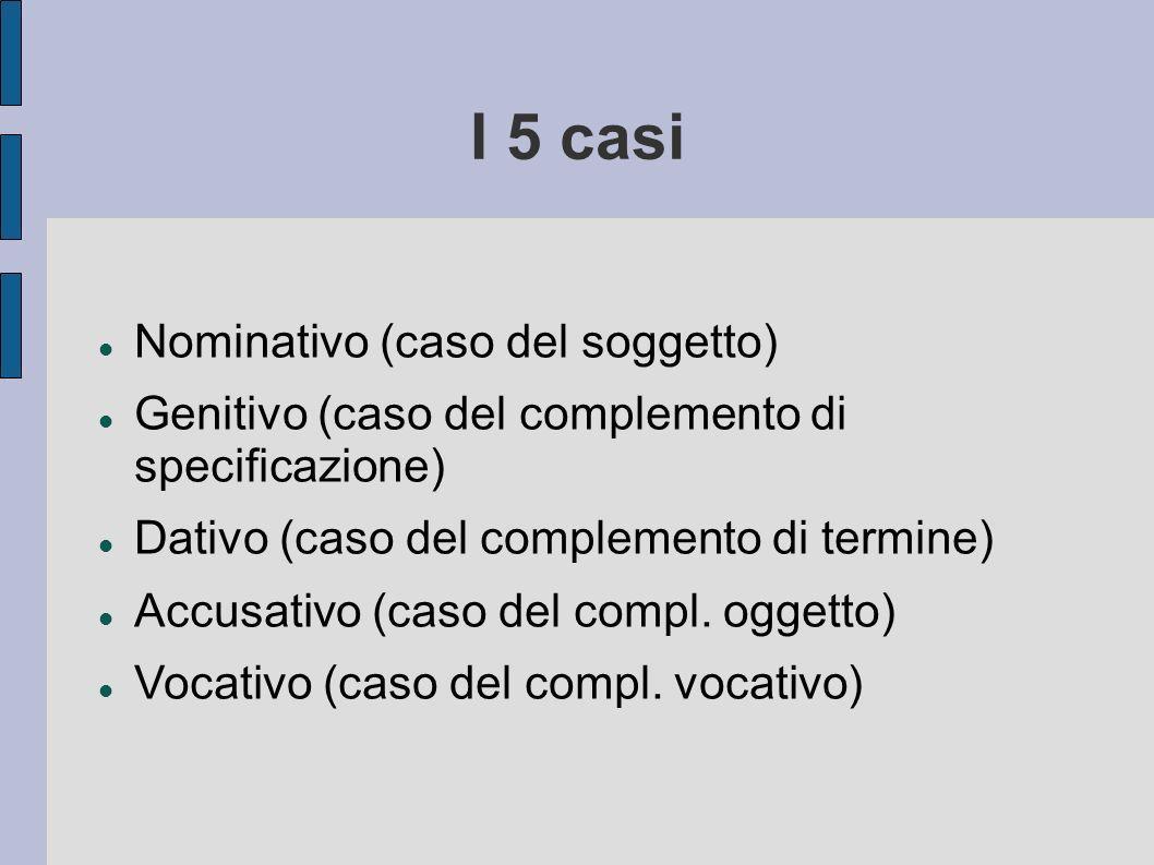 I 5 casi Nominativo (caso del soggetto)