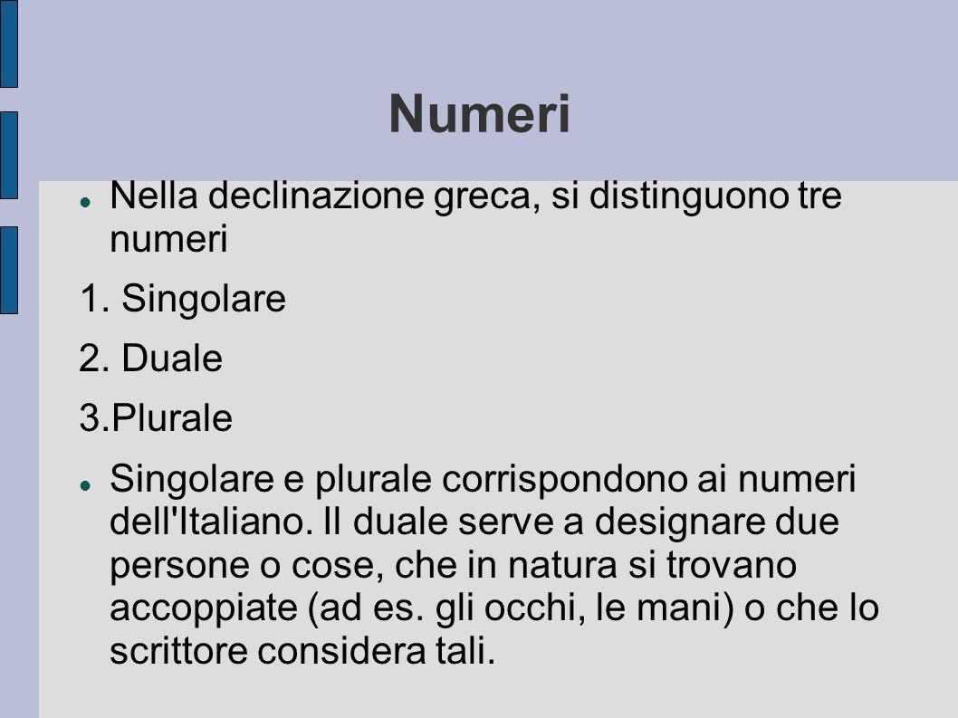 Numeri Nella declinazione greca, si distinguono tre numeri