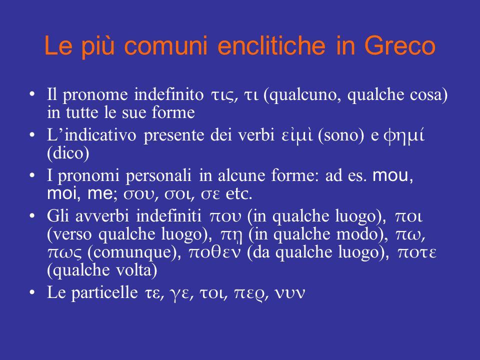 Le più comuni enclitiche in Greco