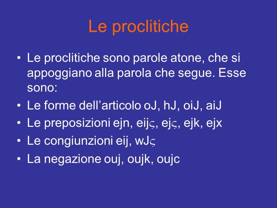 Le proclitiche Le proclitiche sono parole atone, che si appoggiano alla parola che segue. Esse sono: