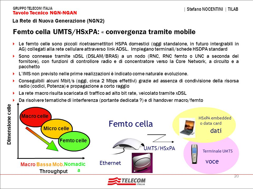 Femto cella UMTS/HSxPA: « convergenza tramite mobile