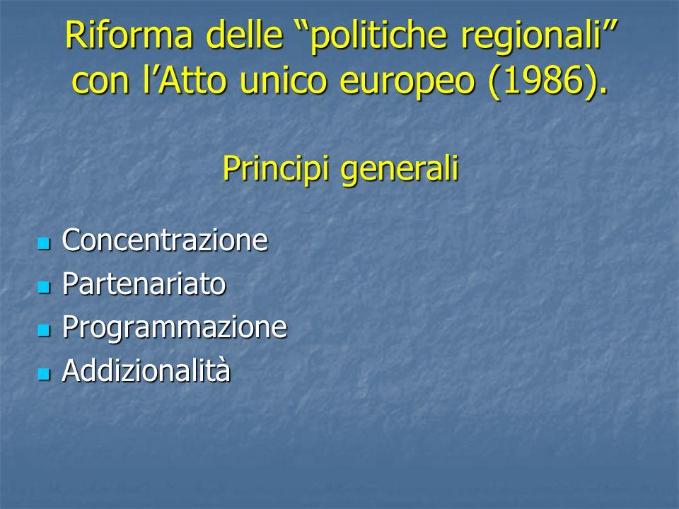 Riforma delle politiche regionali con l'Atto unico europeo (1986)