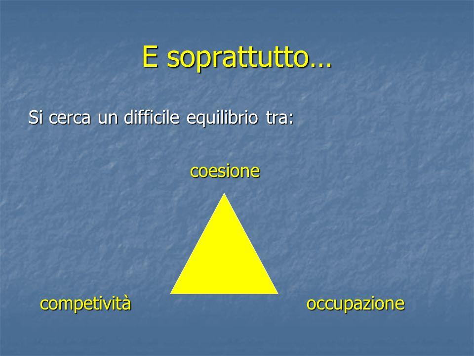 E soprattutto… Si cerca un difficile equilibrio tra: coesione