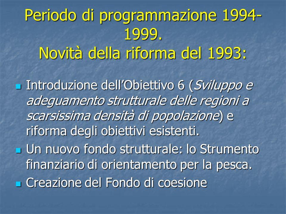 Periodo di programmazione 1994-1999. Novità della riforma del 1993: