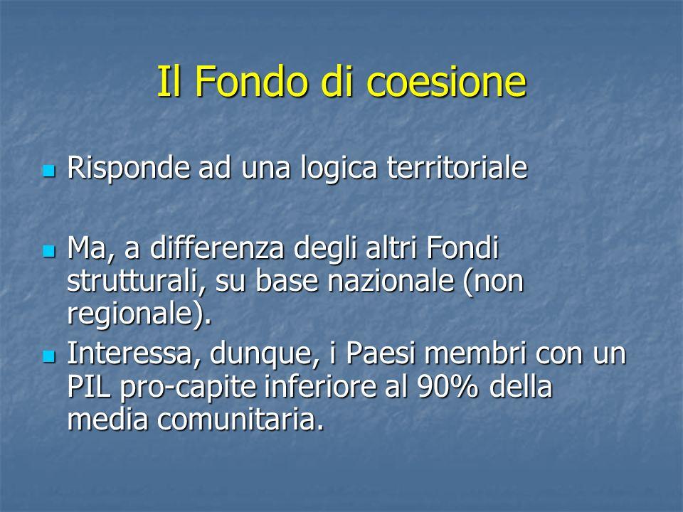 Il Fondo di coesione Risponde ad una logica territoriale