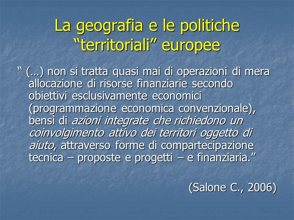 La geografia e le politiche territoriali europee