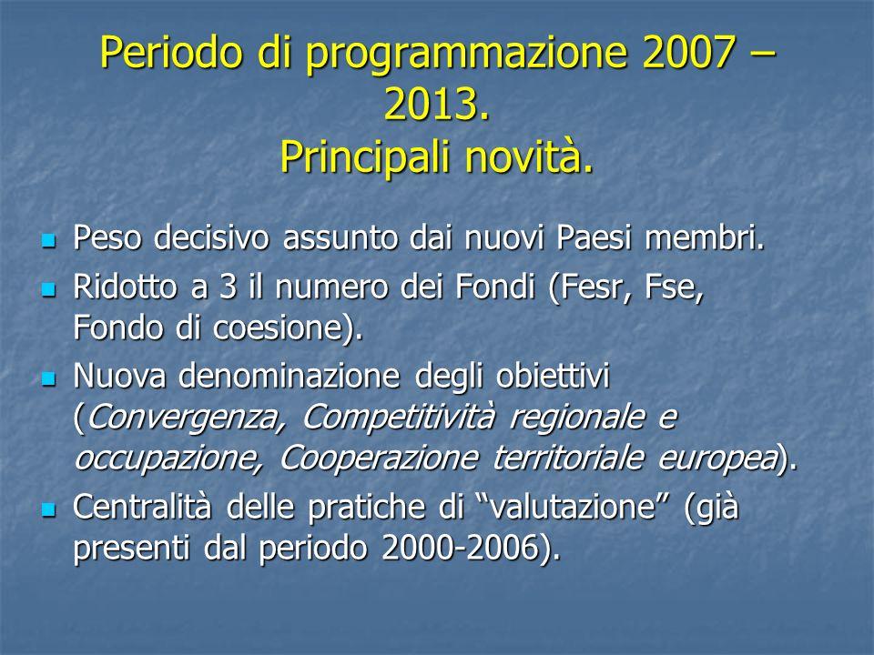 Periodo di programmazione 2007 – 2013. Principali novità.
