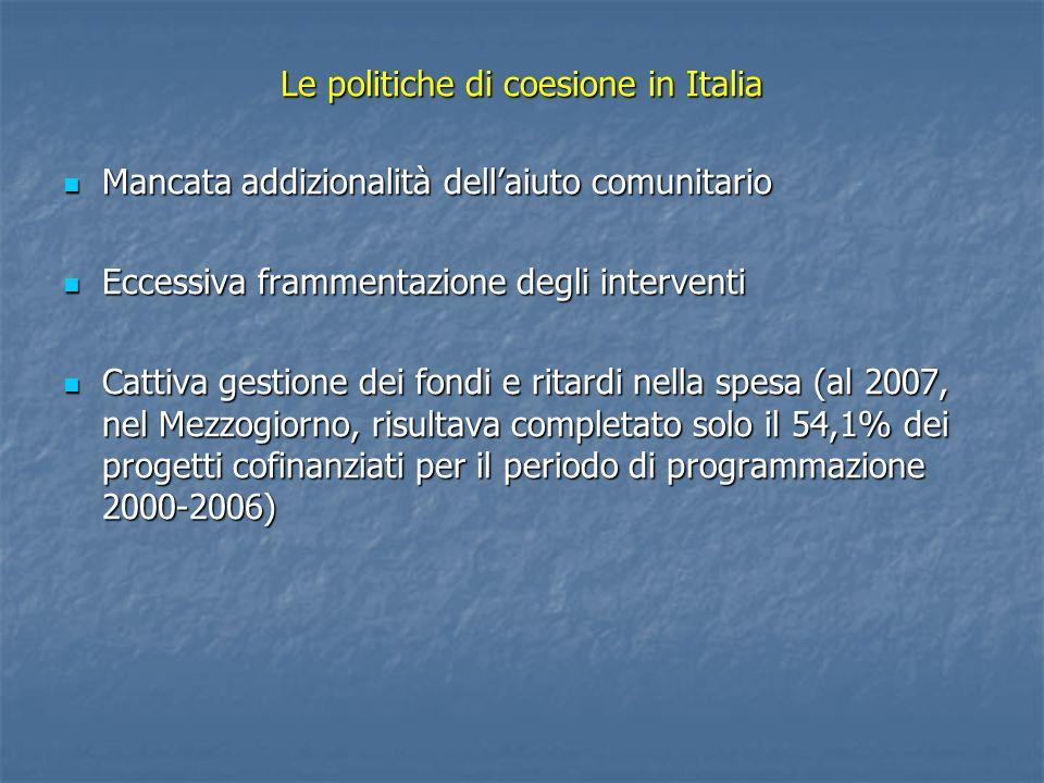 Le politiche di coesione in Italia
