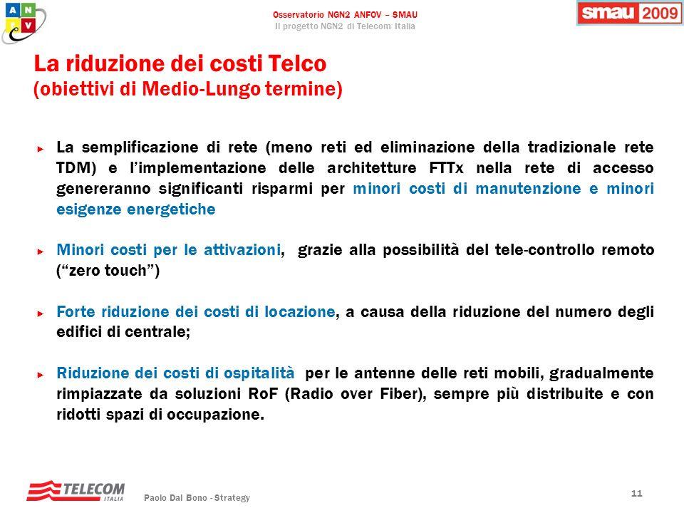 La riduzione dei costi Telco (obiettivi di Medio-Lungo termine)