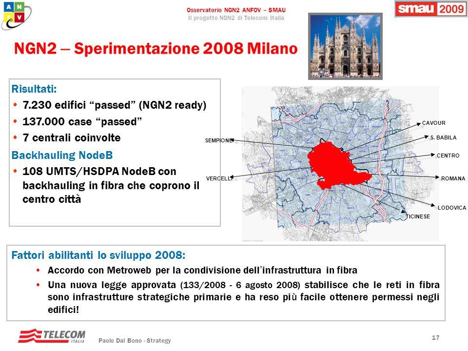 NGN2 – Sperimentazione 2008 Milano