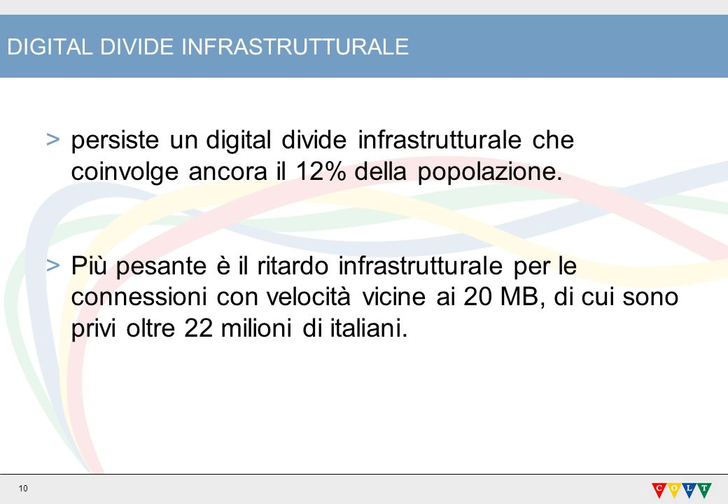 DIGITAL DIVIDE INFRASTRUTTURALE