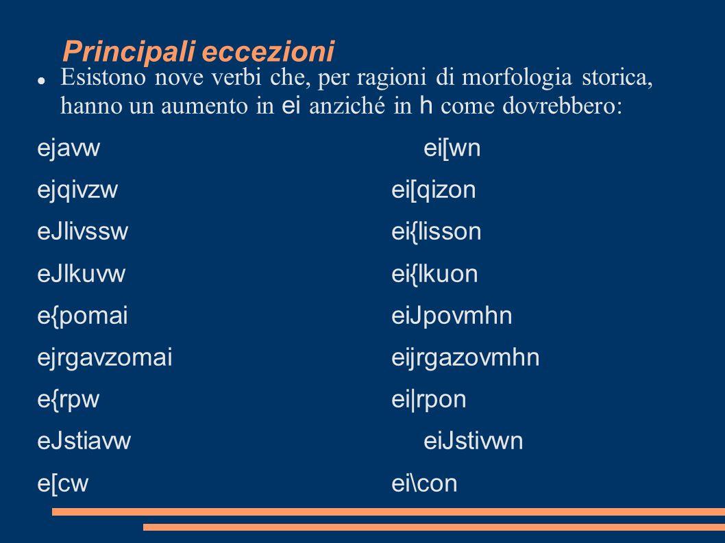 Principali eccezioni Esistono nove verbi che, per ragioni di morfologia storica, hanno un aumento in ei anziché in h come dovrebbero: