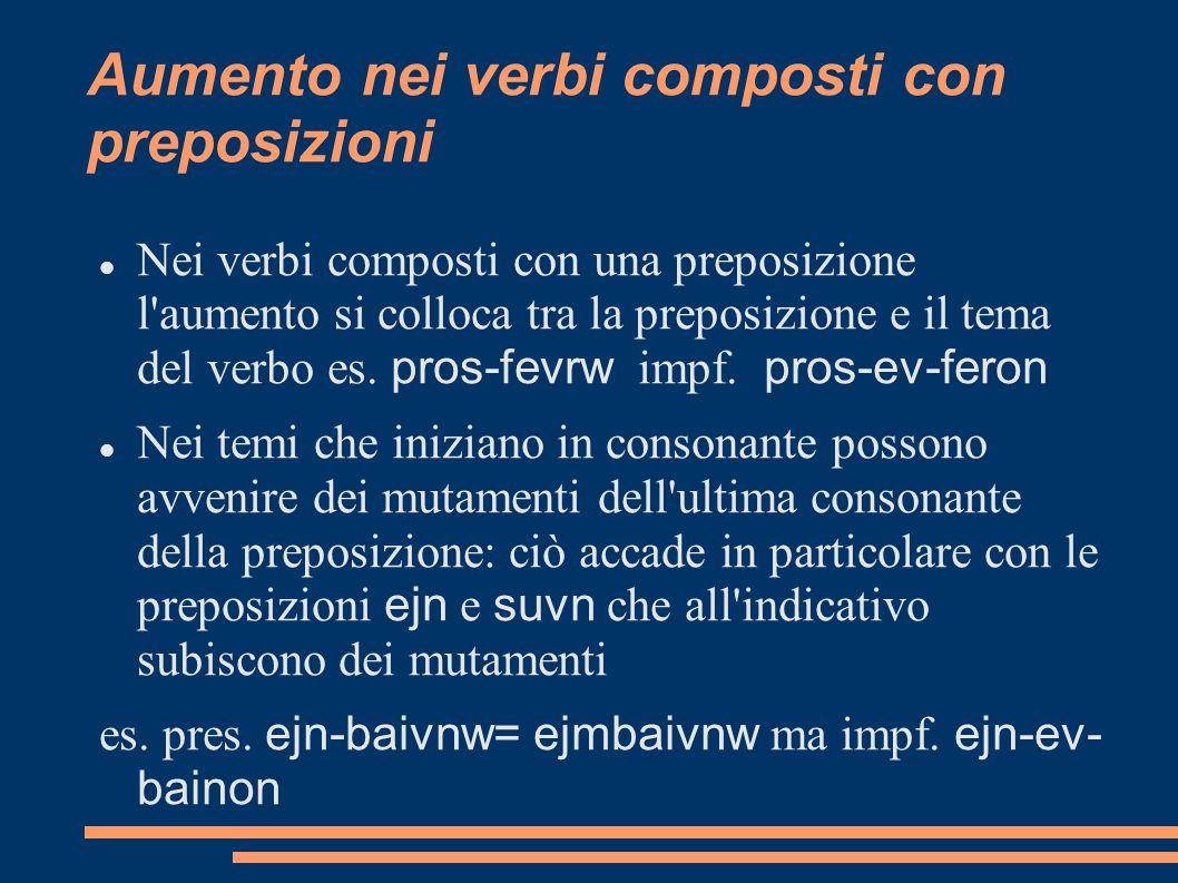 Aumento nei verbi composti con preposizioni