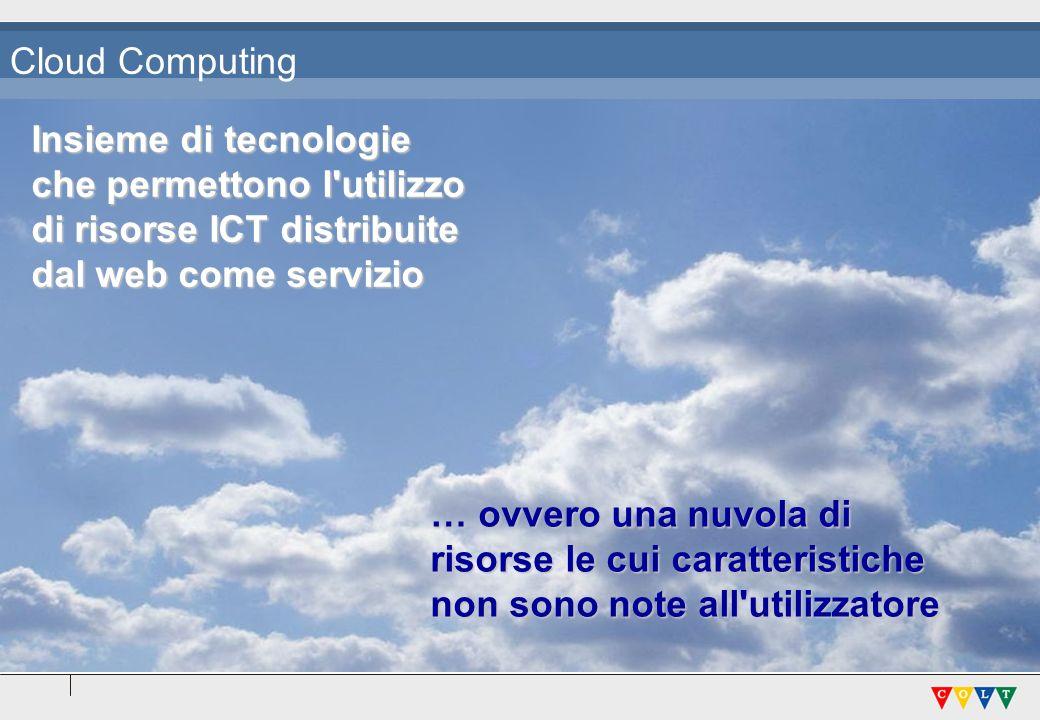 Cloud Computing Insieme di tecnologie. che permettono l utilizzo. di risorse ICT distribuite. dal web come servizio.