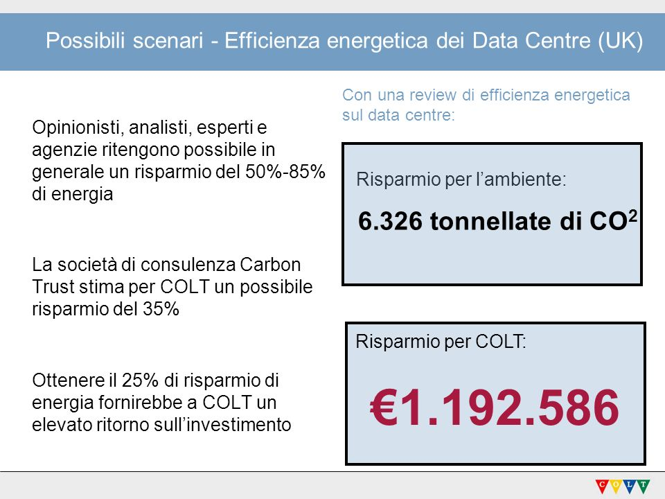Possibili scenari - Efficienza energetica dei Data Centre (UK)
