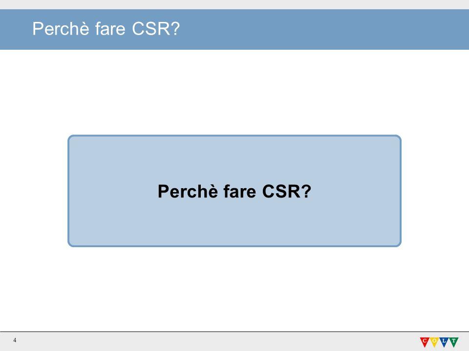 Perchè fare CSR Perchè fare CSR
