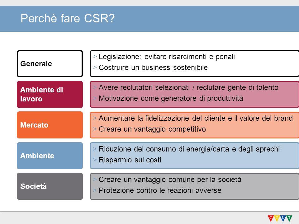 Perchè fare CSR Legislazione: evitare risarcimenti e penali Generale