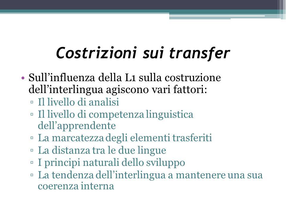 Costrizioni sui transfer