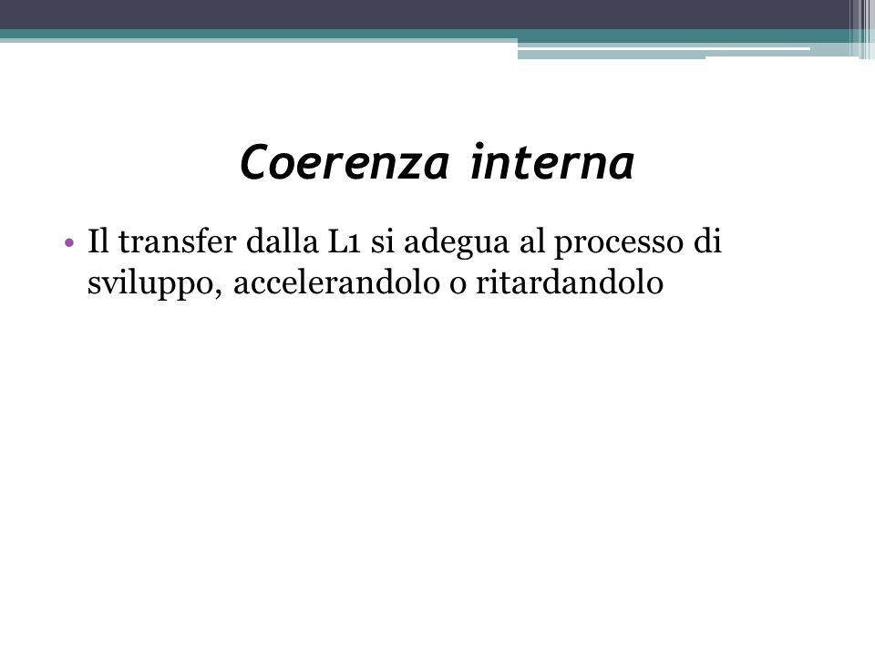Coerenza interna Il transfer dalla L1 si adegua al processo di sviluppo, accelerandolo o ritardandolo.