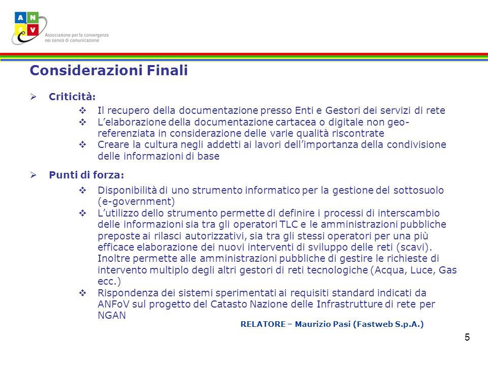RELATORE – Maurizio Pasi (Fastweb S.p.A.)
