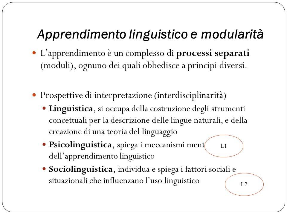 Apprendimento linguistico e modularità
