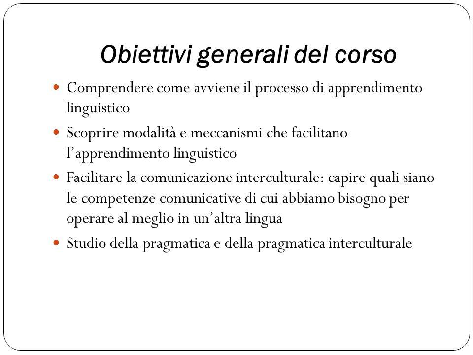 Obiettivi generali del corso