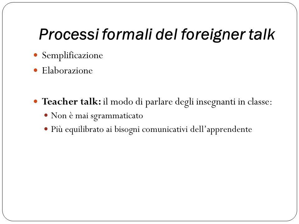 Processi formali del foreigner talk
