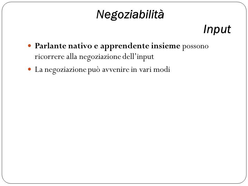 Negoziabilità Input Parlante nativo e apprendente insieme possono ricorrere alla negoziazione dell'input.