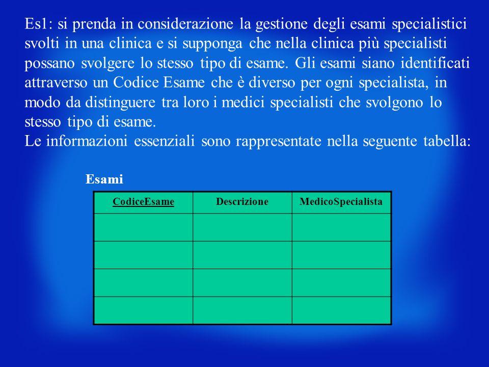 Es1: si prenda in considerazione la gestione degli esami specialistici