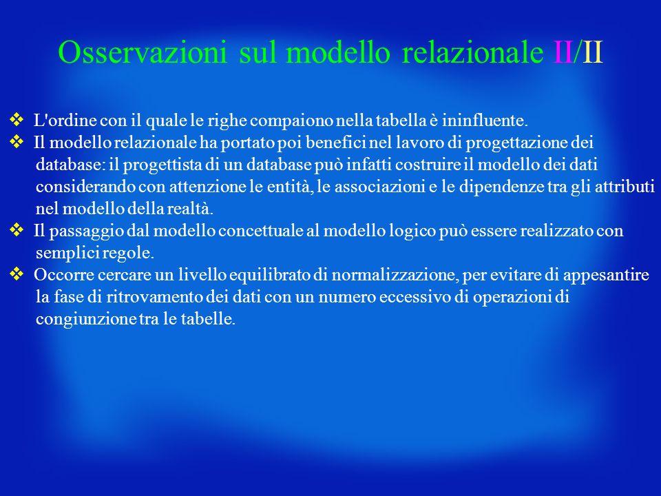 Osservazioni sul modello relazionale II/II