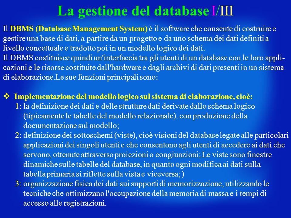 La gestione del database I/III