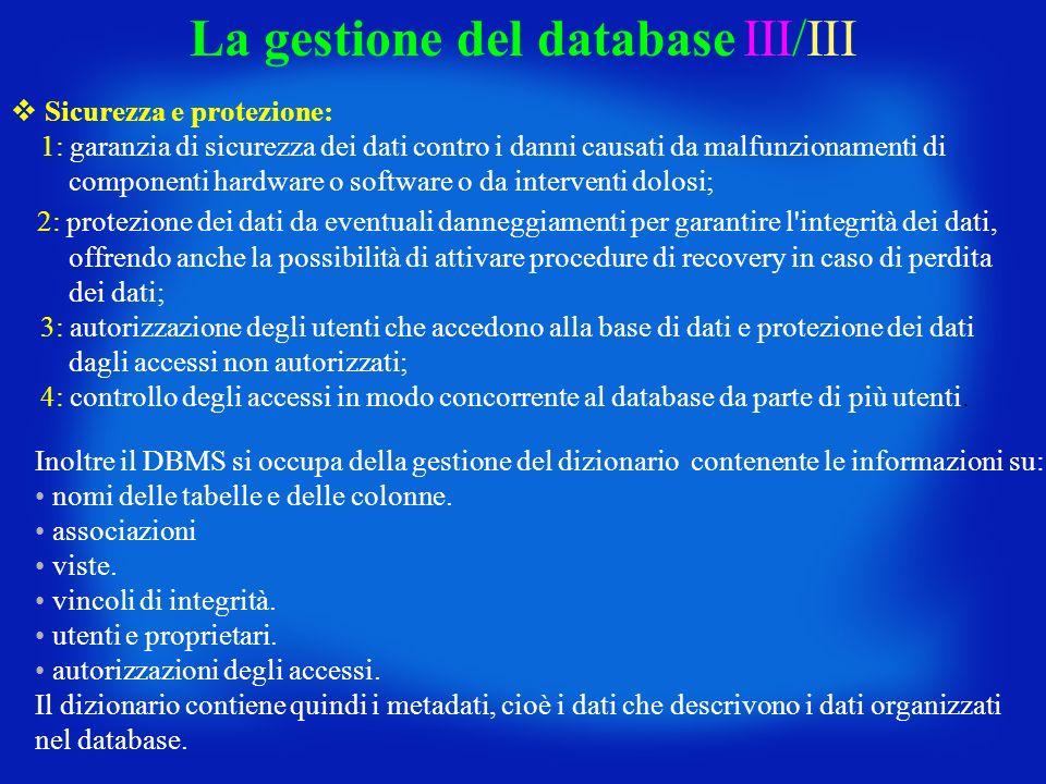 La gestione del database III/III