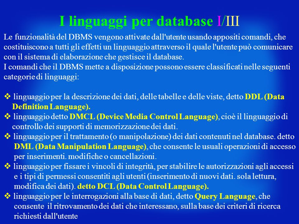 I linguaggi per database I/III