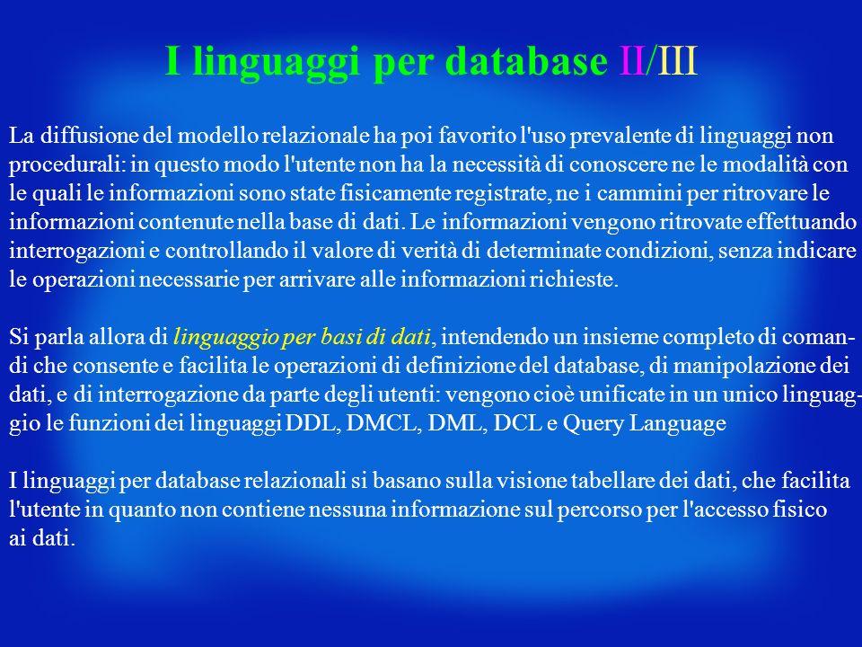 I linguaggi per database II/III