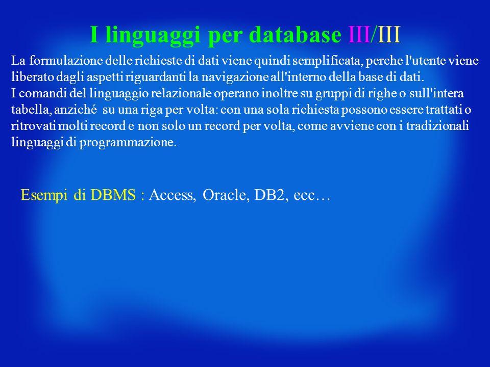 I linguaggi per database III/III