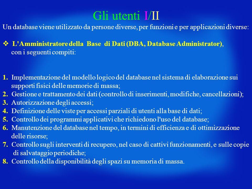 Gli utenti I/II Un database viene utilizzato da persone diverse, per funzioni e per applicazioni diverse: